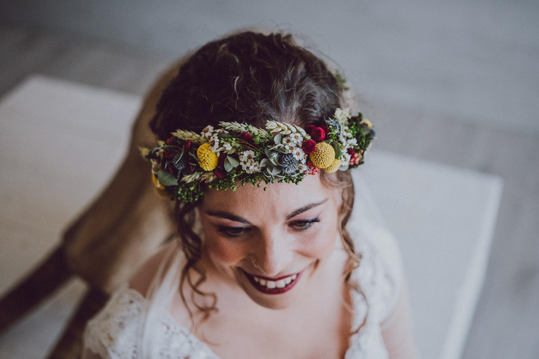 corona de novia de flores pando